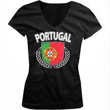 Portugal Shield Crest Coat Of Arms Portuguese Country PRT Juniors V-Neck T-Shirt