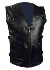 Mens Real Cow Leather Black Motorcycle Biker Style Vest Waistcoat