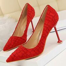 decolte scarpe donna rosso elegante stiletto 9.5 cm spillo simil pelle 8306