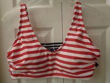 Plus Size Bikini Swim Top Red Stripe Flag USA Ava & Viv Strappy Cage Ladder Back