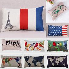 Cotton Linen Throw Pillow Case Rectangular Cushion Cover Home Sofa Waist Decor