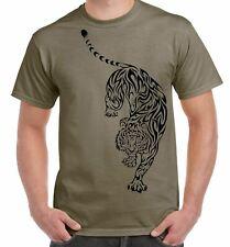 Tribal Tiger Tattoo Large Print Men's T-Shirt - Tigers