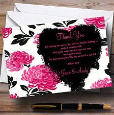 BELLISSIMA Rosa Nero e Bianco Floreale personalizzata Nozze CARTOLINE di ringraziamento