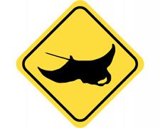 Rochen Warnschild Warndreieck Aufkleber Achtung Vorsicht Tier
