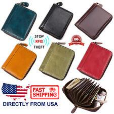 Men's RFID Blocking Genuine Leather Secure Credit Card Holder Zip Around Wallet