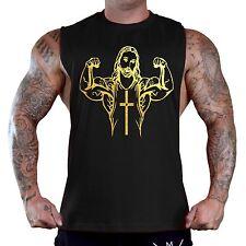 Men's Gold Foil Buff Jesus Black T-Shirt Tank Top Workout Bodybuilding Muscle