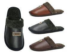New Men's Classic PU House Slipper Slip on Durable Indoor Shoe Comfortable-0280