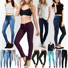 Jeans DONNA SKINNY Elasticizzato Jeggings Donna Pantaloni Slim Fit Blu Denim Pantaloni