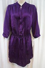 Aqua Dress Sz S Purple Sheen 3/4 Sleeve Short Adjustable Waist Cocktail Blouson