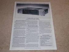 Carver M-500t Amplifier Spec Sheet,1 pg, Info,1987