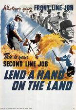 Wb11 Vintage Ww2 echar una mano sobre la tierra británico Segunda Guerra Mundial Guerra Poster volver a imprimir A2/a3
