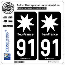 2 Stickers autocollant plaque immatriculation : 91 Ile de France LogoType Black