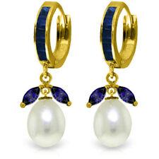 Genuine Blue Sapphire Gems Huggie Hoops & Cultured Pearl Earrings 14K Solid Gold