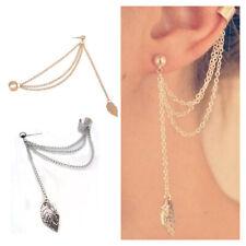 Ear Clip Dangle Earrings Leaf Chain Tassel Ear Cuff Wrap Gold Silver Plated