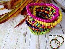Colourful Wood Bead Bracelet - Surfer Beach Arm Candy Ethnic Rasta Hippy Unisex