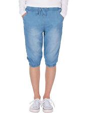 Damen leichte Sommer Jeans Hose Stoffhose Shorts Bermuda Capri knielang Neu