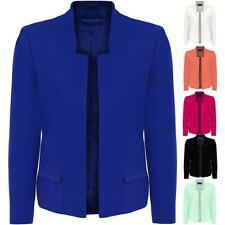 Women's Open Front Long Sleeve Front Pockets Ladies Smart Plain Blazer Jacket