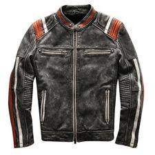 Para hombres De colección Moto Cafe Racer Motorista Cuero Chaqueta retro moto envejecido