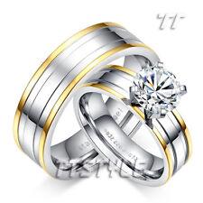TTstyle 6mm Multi-Stripe S.Steel Engagement Wedding Band Ring Set Size 6-11