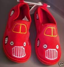 Little BOYS Toddler RED Racing Car Slippers Slip-On NEW
