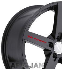 V8 POWER Wheels Decal Sticker Sport racing car rims performance logo emblem 4pcs