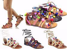 Bohemia Womens POMPOM Lace Up Thong Ankle Strap Flip Flops Roma Sandals Shoes Sz