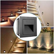 2W 230V LED Wandeinbauleuchte Stufenlicht Treppenlicht Außen Lampe Alu IP65