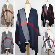 Colorblock Mega Checked Blanket Poncho Cape Oversized Plaid Warm Wrap Shawl