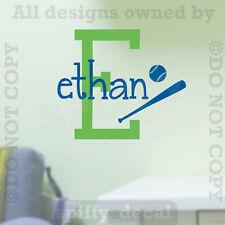 Personalized Monogram Wall Decal Vinyl Sticker Decor Graphic Nursery Baseball