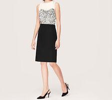 Ann Taylor LOFT Filigree Lace Print Bodice Dress Size 00P, 0P NWT Spring Cream