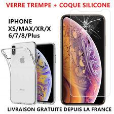 Coque Silicone TPU iPhone XR X XS MAX 8 7 Plus 6 S 5 SE +Film Ecran Verre Trempé
