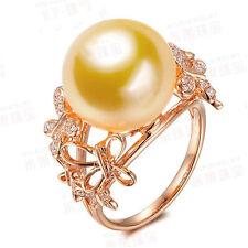 18K Yellow Gold Filled Women Pearl Crystal Rings Men Rings J015