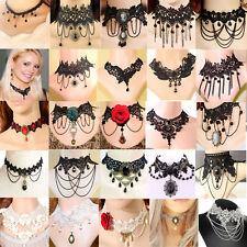 Black Lace Necklace Collar Choker Velvet Victorian Vintage Gothic Chain Pendant