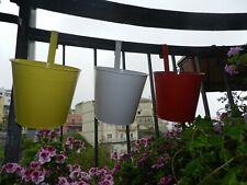 Vaso in Metallo cm16x15 x Arredamento Balcone Giardino con gancio Secchio Latta