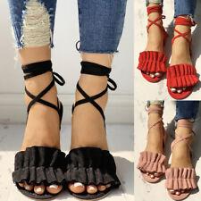 742b86716d6d Fashion Womens Fringe Open Toe Flat Sandal Ladies Summer Casual Lace Up  Shoes BA