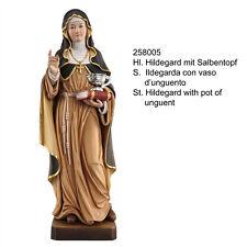 Hl. Hildegard mit Salbentopf Woodcarving. Santa Ildegarda con vaso oli Legno