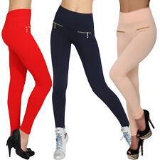 Sexy Stretch Hose hoher breiter Bund Zipper Röhre Treggings Leggings elastisch