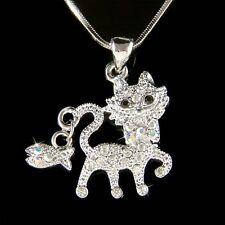 w Swarovski Crystal ~KITTY CAT~ Kitten Fish Charm Pendant Chain Necklace Jewelry