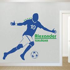 Wandtattoo Wandaufkleber Fußballer mit Wunschname und Trikotnummer Kinder Ball