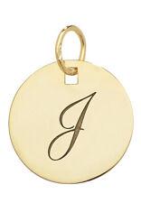 9CT Gold Initialen Anhänger Rund Tag Buchstabe Buchstaben Name Kette Kiste