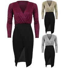 Ladies Plunge V Neck Wrap Glitter Heather Lined Lurex Split Midi Bodycon Dress