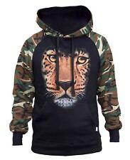 Men's Huge Leopard Face Camo/Black Raglan Hoodie Wildlife Animal Hunting Beast
