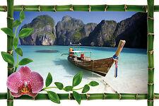 Sticker mural trompe l'oeil déco bambou Barque réf 987