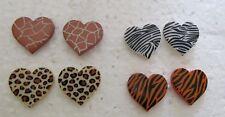 Safari Hearts Nickel Free Stud Earrings  U-Pick Animal Pattern Light on Ears