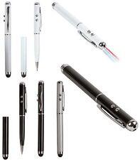 penna Touch screen universale in metallo con luce led e puntatore laser 3 colori