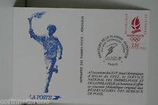 CARTE POSTE PARCOURS FLAMME OLYMPIQUE ALBERTVILLE 1991