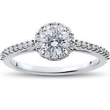 7/8 ct Halo Vintage Round Diamond Eco Friendly Lab Grown Engagement Ring 14k
