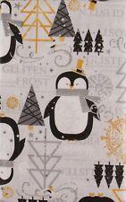 Christmas Penguins Glistening Winter Frost Vinyl Flannel Bk Tablecloth Var Size