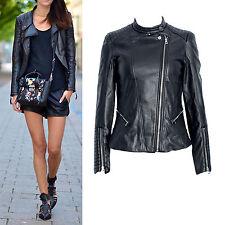 Black faux leather ribbed stand collar panels shoulder moto biker jacket 6-16