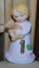 """Vintage Figurine 2.5"""" Enesco Growing Up Birthday Girls 1 YR OLD Blonde Girl CUTE"""
